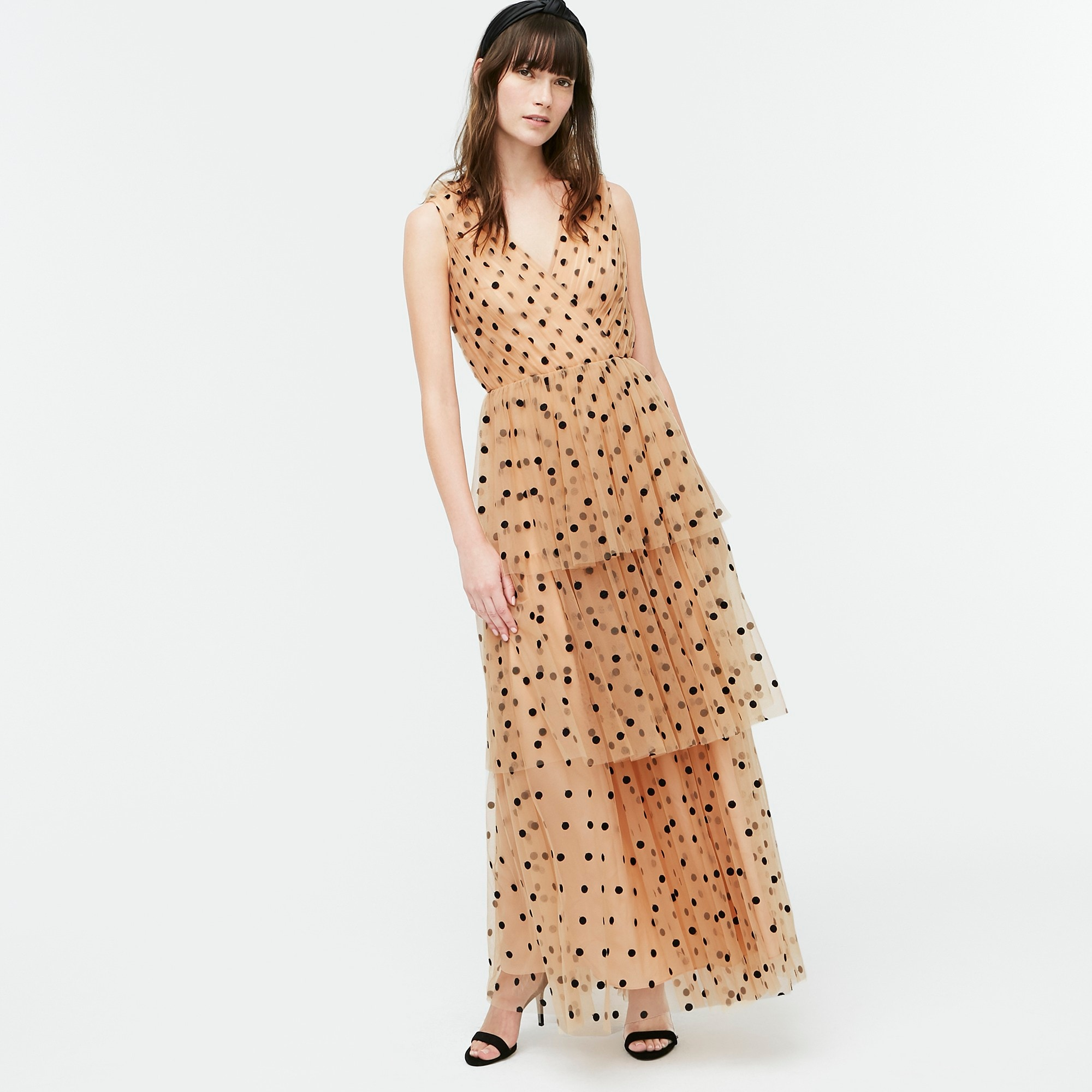 J.Crew: Tiered Halter Dress In Dot Tulle