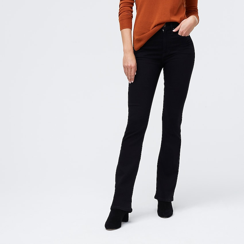 j.crew factory: black bootcut jean, right side, view zoomed