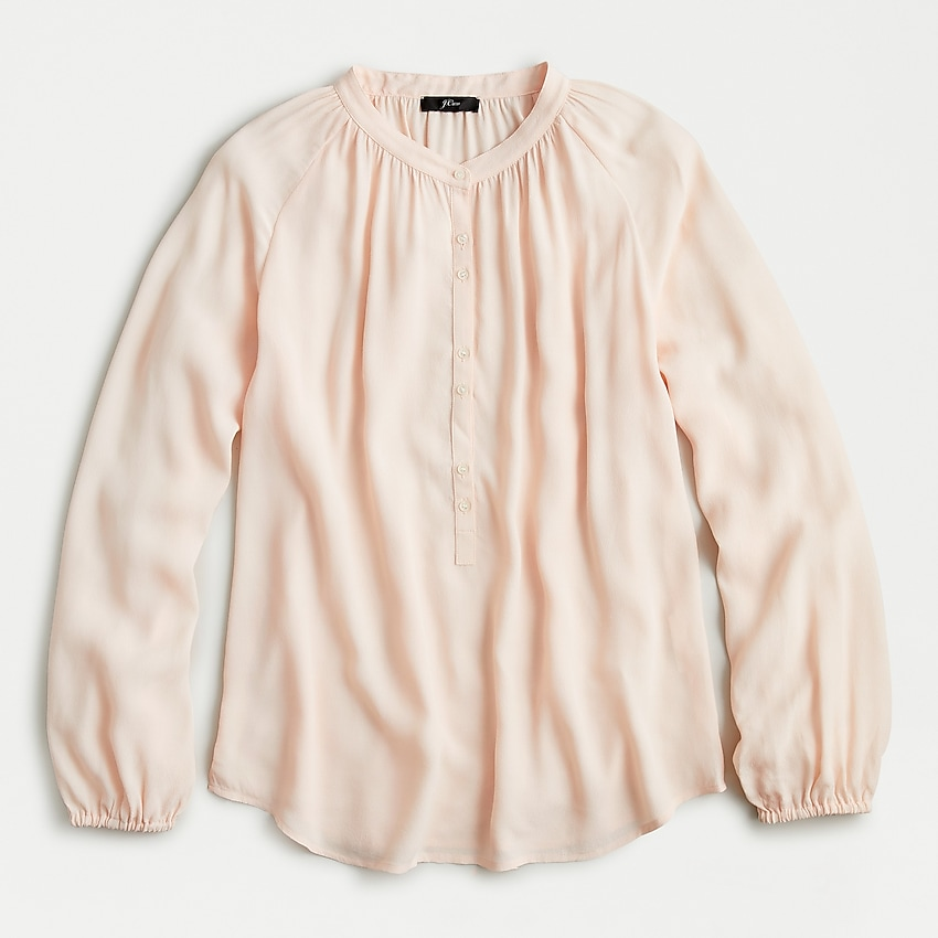 j.crew: long-sleeve drapey popover top for women, right side, view zoomed