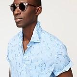 Short-sleeve slub cotton shirt in wave print