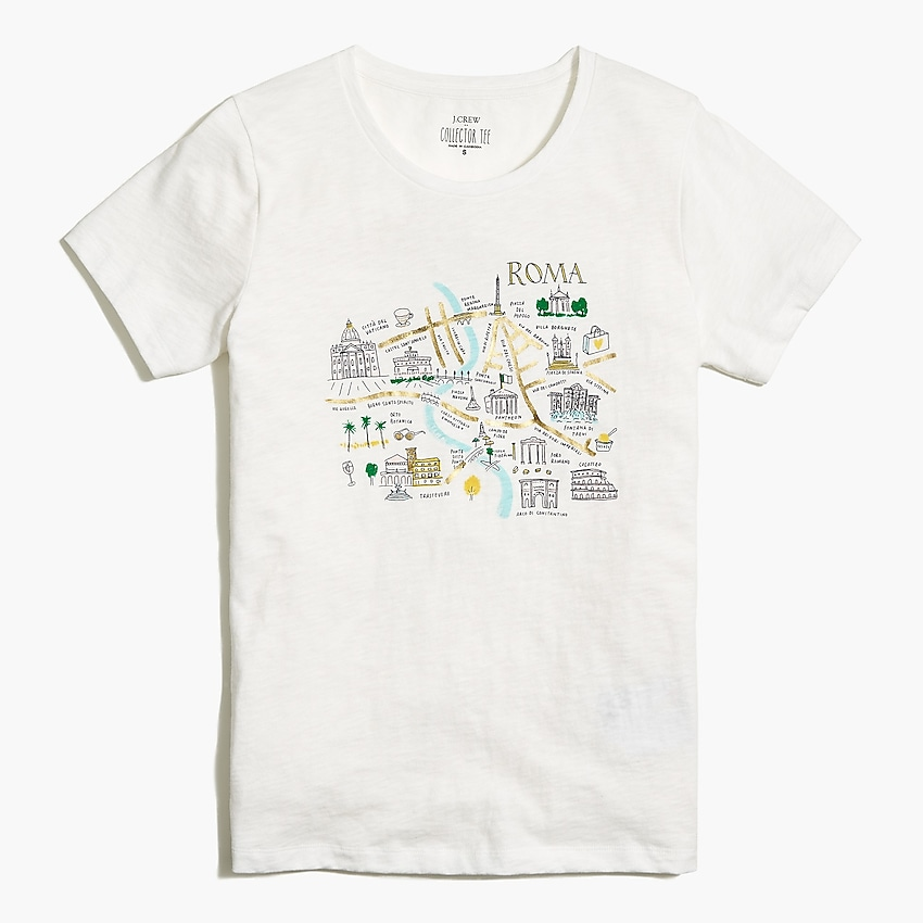 j.crew factory: rome map graphic tee for women, right side, view zoomed