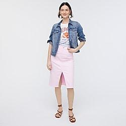 Garment-dyed denim pencil skirt