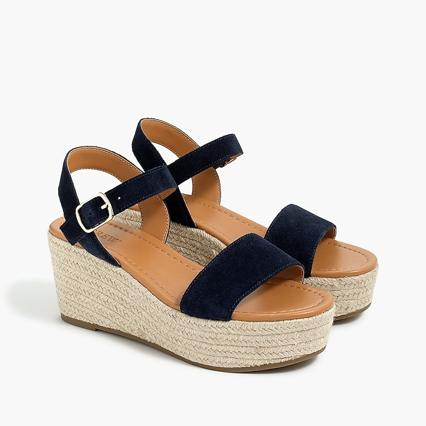 j.crew factory: suede platform espadrilles for women, right side, view zoomed