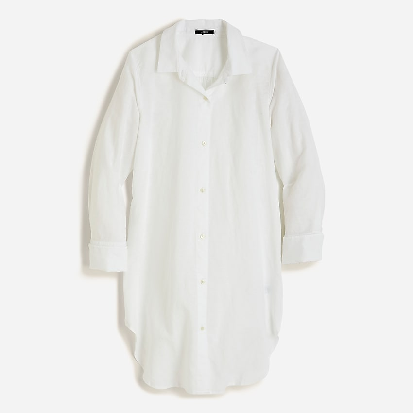 j.crew: button-up beach cover-up in linen-cotton for women, right side, view zoomed
