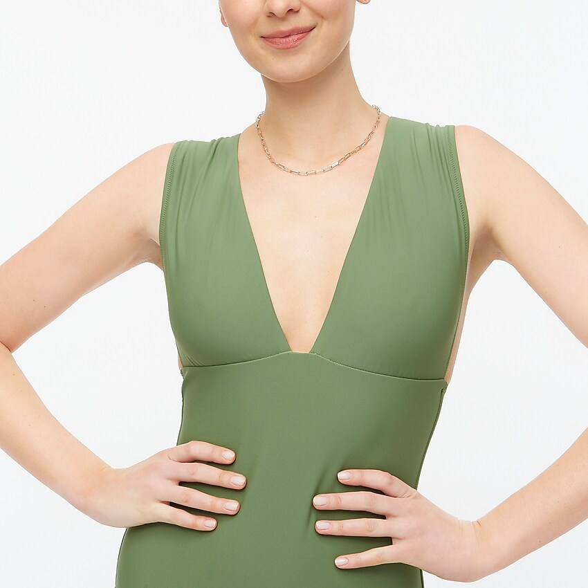 factory: v-neck one-piece for women, right side, view zoomed