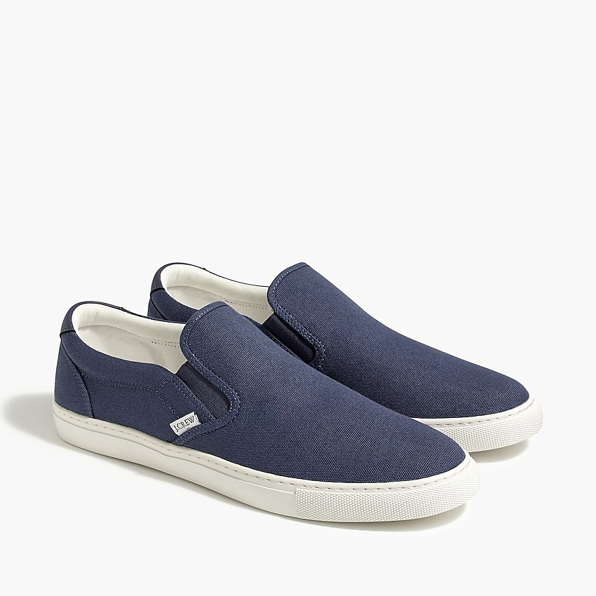 j.crew factory: explorer canvas slip-on sneakers for men, right side, view zoomed