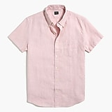 Slim short-sleeve linen-cotton shirt
