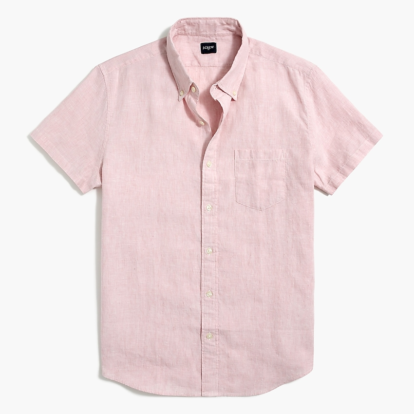j.crew factory: slim short-sleeve linen-cotton shirt for men, right side, view zoomed