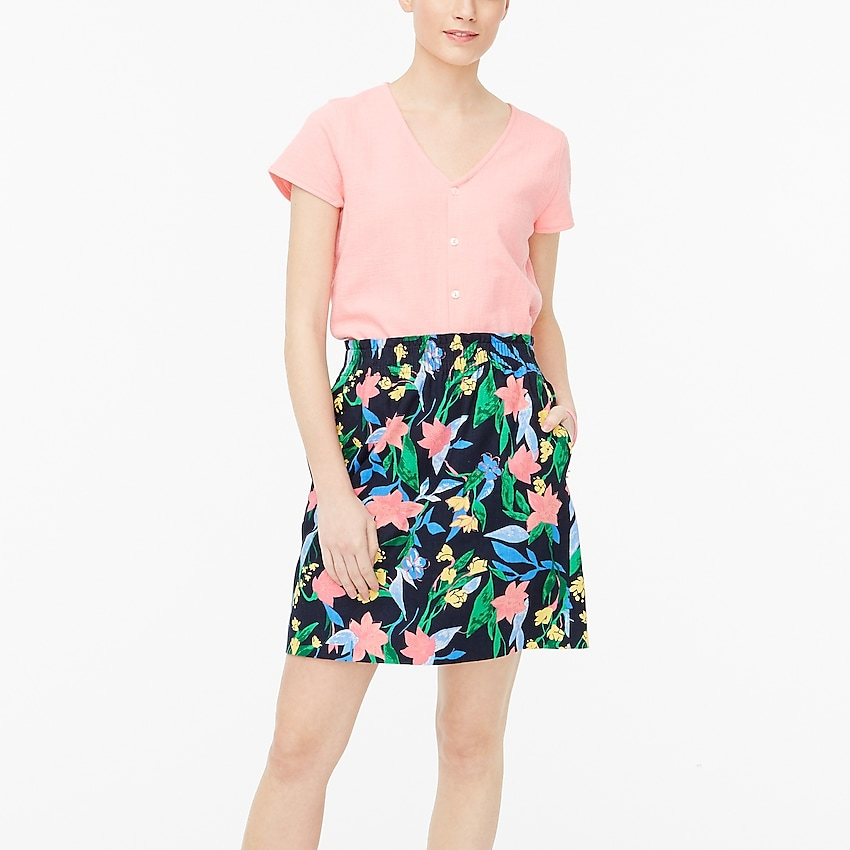 j.crew factory: printed linen-cotton skirt for women, right side, view zoomed