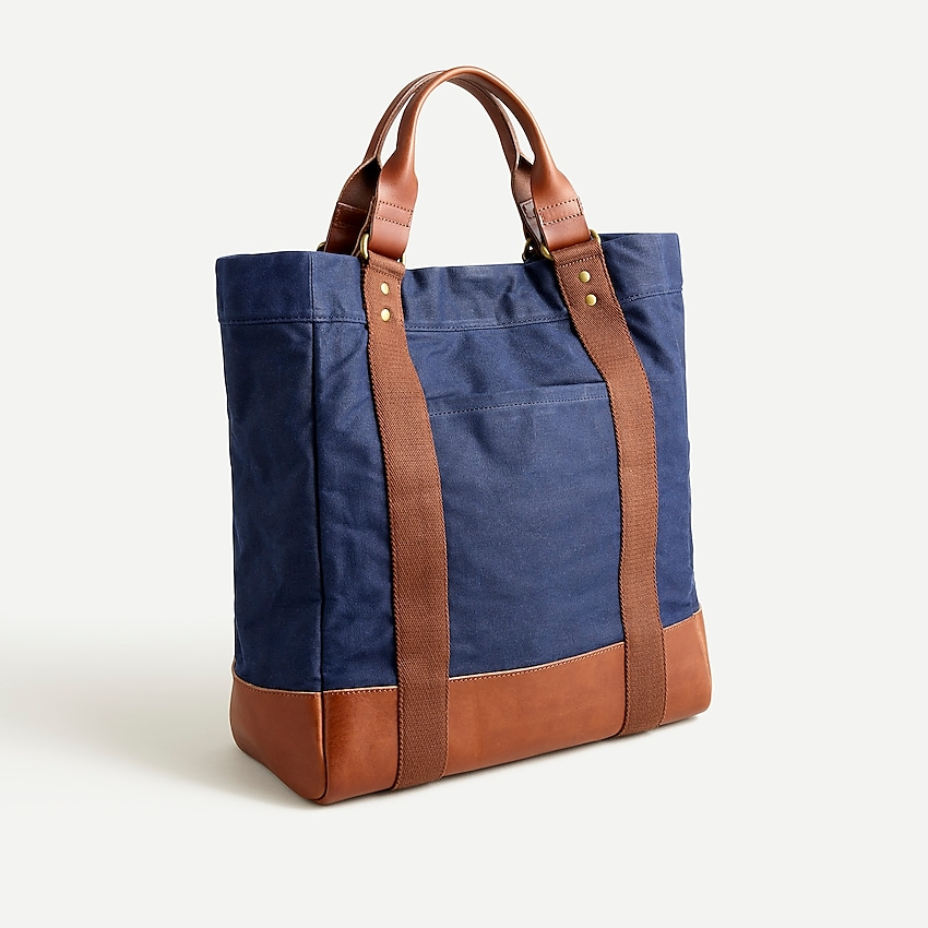 j.crew: abingdon waxed canvas tote bag for men, right side, view zoomed