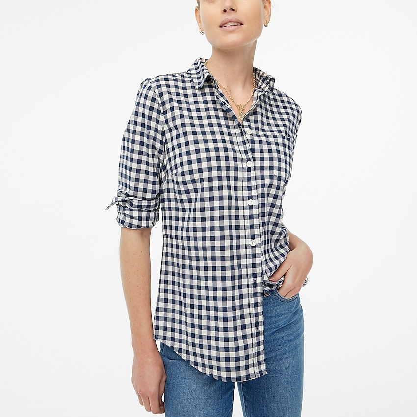 j.crew factory: gingham lightweight cotton shirt in signature fit for women, right side, view zoomed