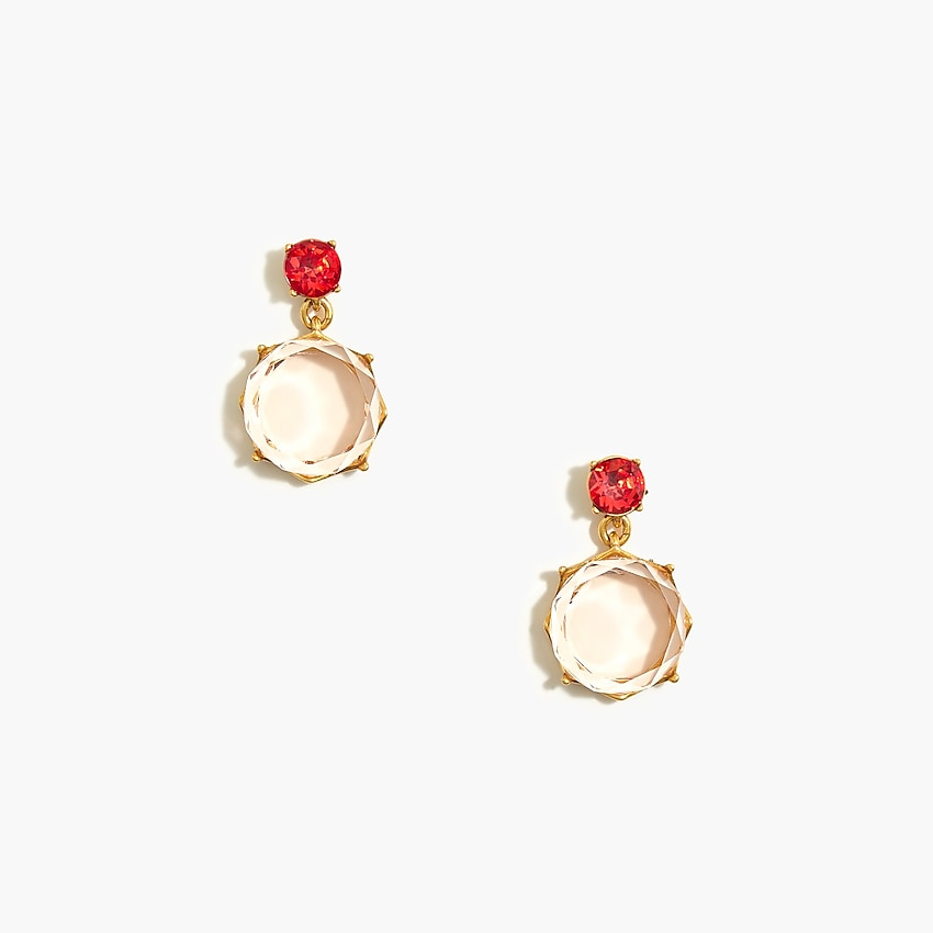 j.crew factory: crystal circle drop earrings for women, right side, view zoomed