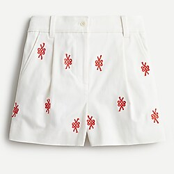 High-rise short with nautical knot embroidery