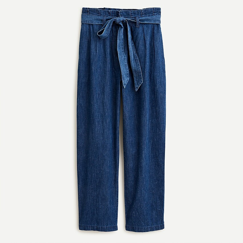 j.crew: paper-bag pant in chambray for women, right side, view zoomed