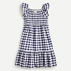 Girls' printed smocked dress