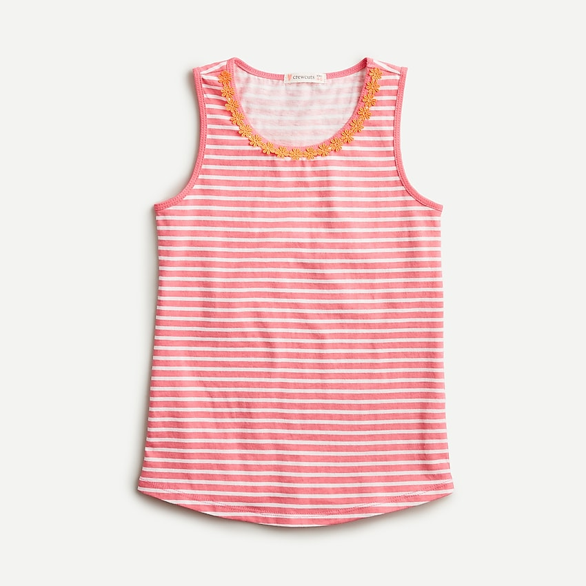 j.crew: girls' flower-trim tank, right side, view zoomed