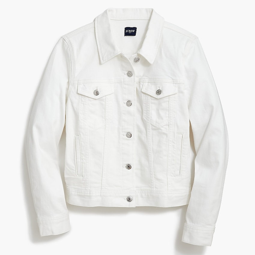 j.crew factory: classic jean jacket in white wash for women, right side, view zoomed