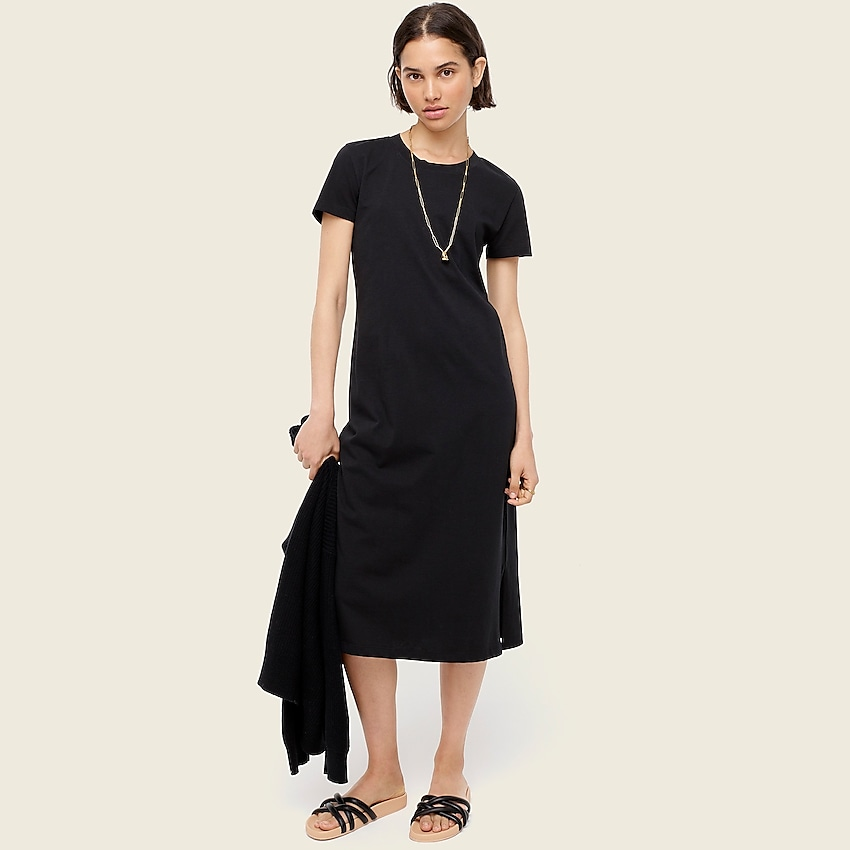 j.crew: midi t-shirt dress for women, right side, view zoomed