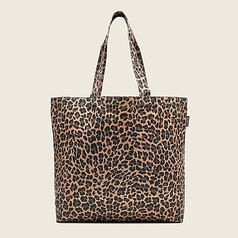 womens Large reusable everyday canvas tote in leopard