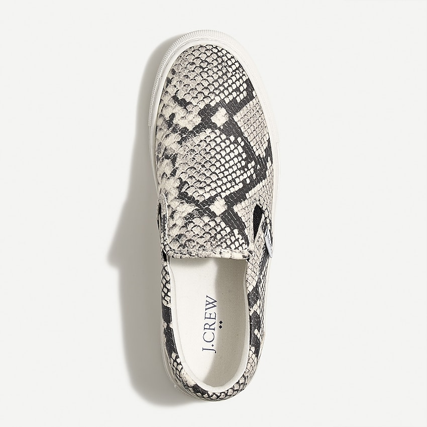 j.crew factory: road trip snakeskin-embossed slip-on sneakers for women, right side, view zoomed