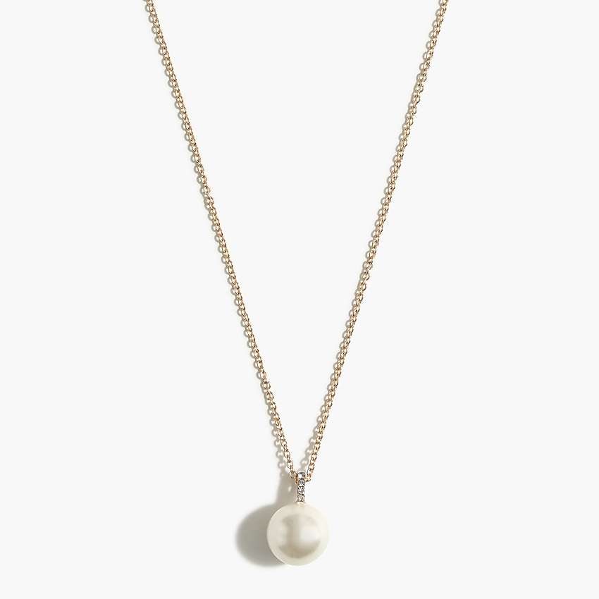j.crew factory: pearl charm pendant necklace for women, right side, view zoomed