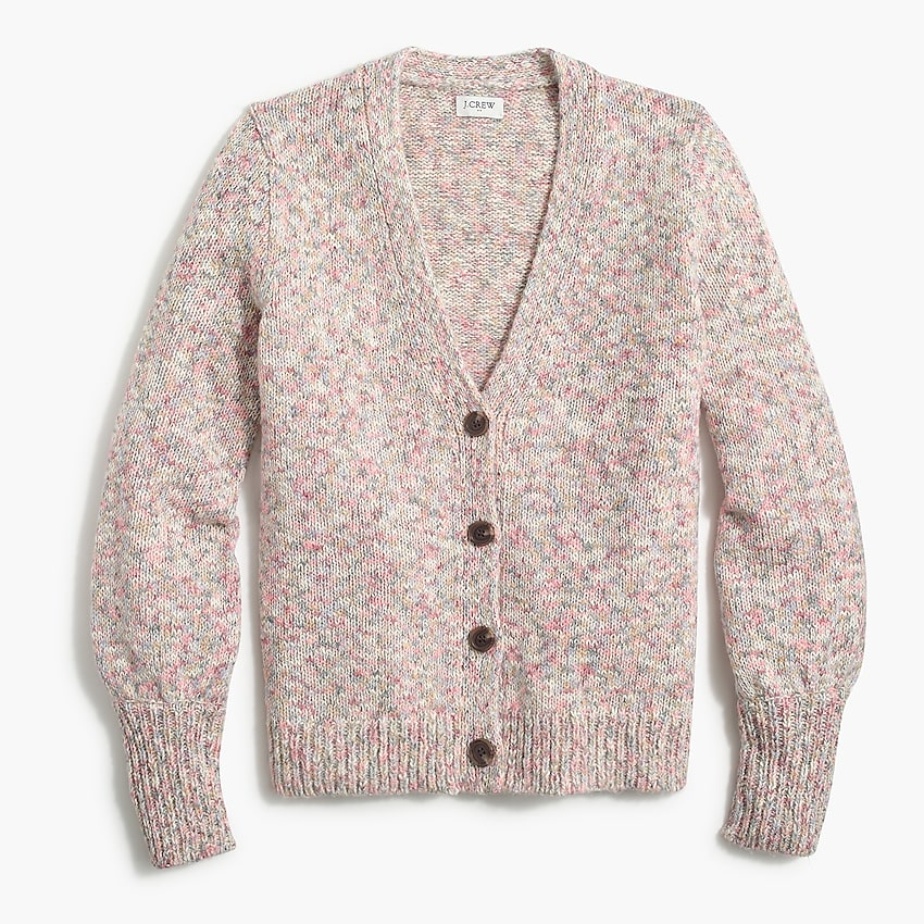 factory: textured button cardigan sweater for women, right side, view zoomed