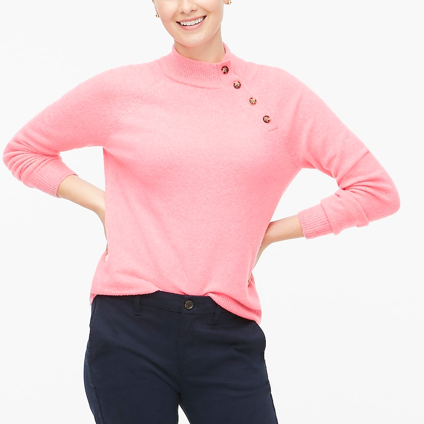 j.crew factory: button sweater in extra-soft yarn for women, right side, view zoomed