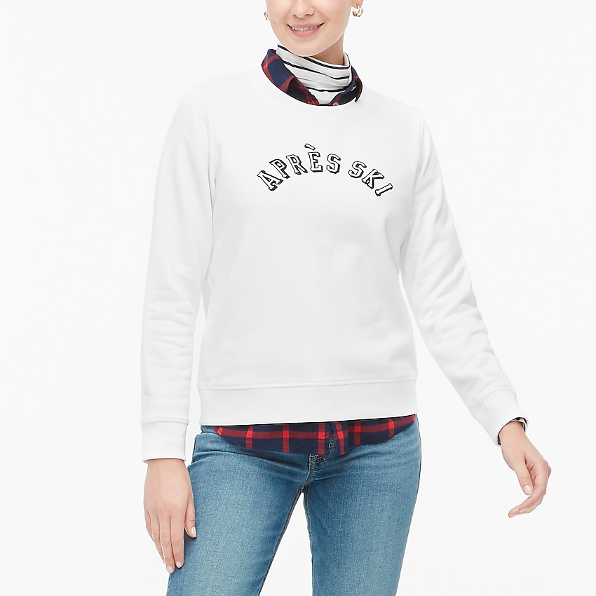 j.crew factory: après-ski sweatshirt for women, right side, view zoomed