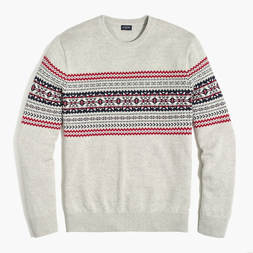 j.crew factory: cotton fair isle sweater for men, right side, view zoomed