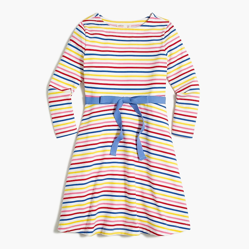 j.crew factory: girls' knit dress with tie waist, right side, view zoomed
