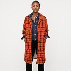 Car coat in houndstooth Italian wool