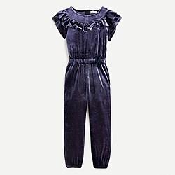 Girls' jumpsuit in sparkle velvet