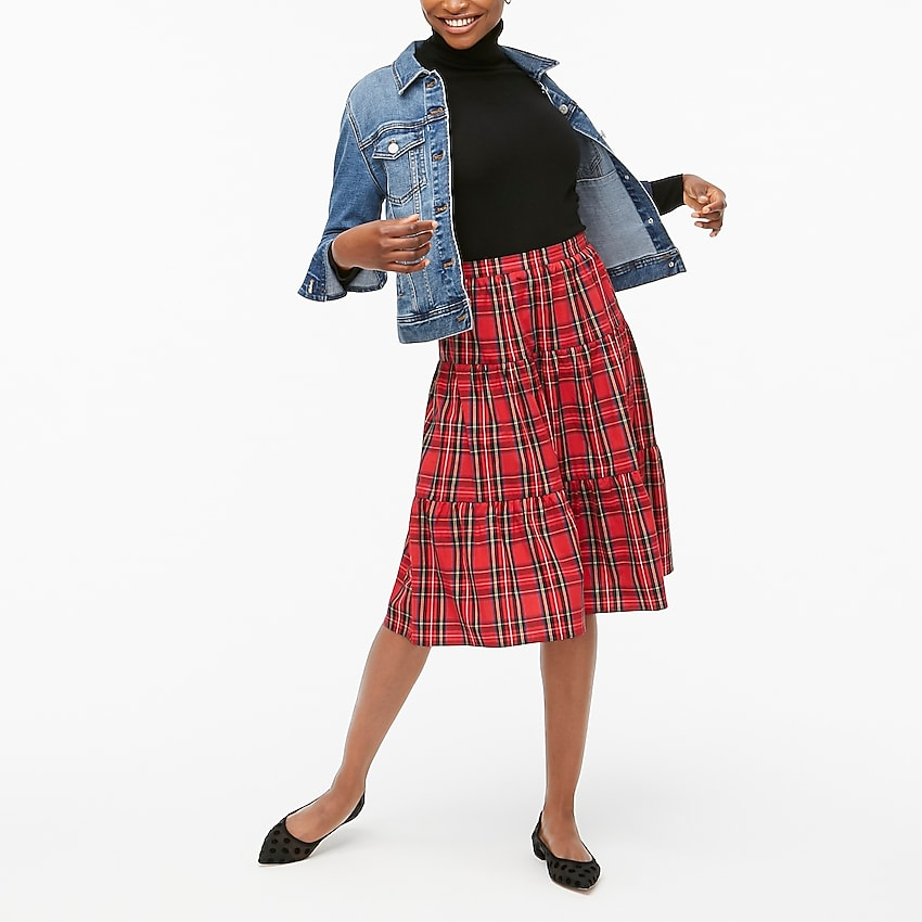 j.crew factory: petite three-tier tartan midi skirt for women, right side, view zoomed