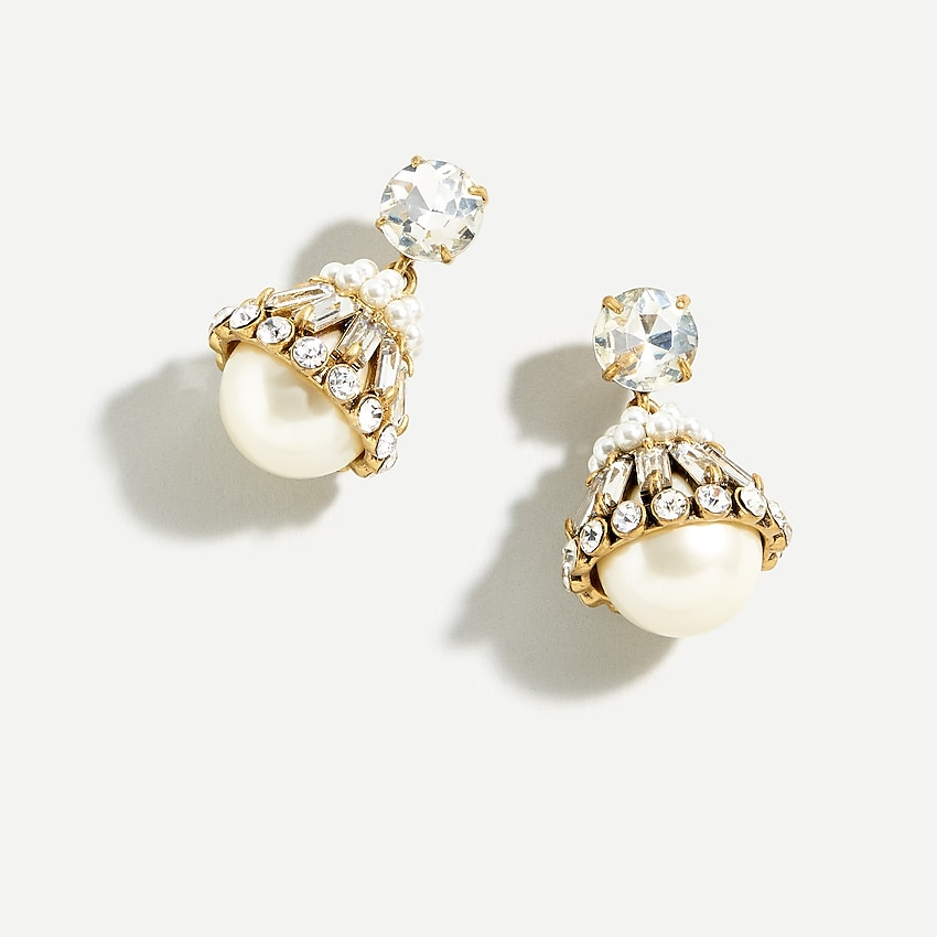 j.crew: crystal and pearl drop earrings for women, right side, view zoomed