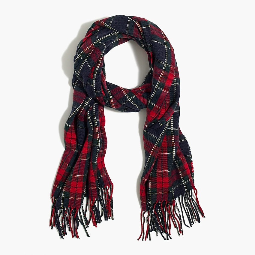 j.crew factory: holiday plaid scarf for men, right side, view zoomed