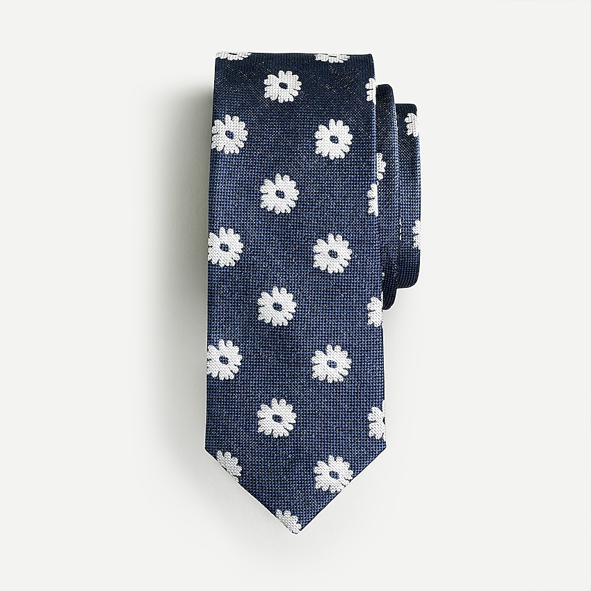 j.crew: boys' silk tie in daisy print for boys, right side, view zoomed
