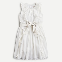 Girls' ruffle-trim ribbon belt dress