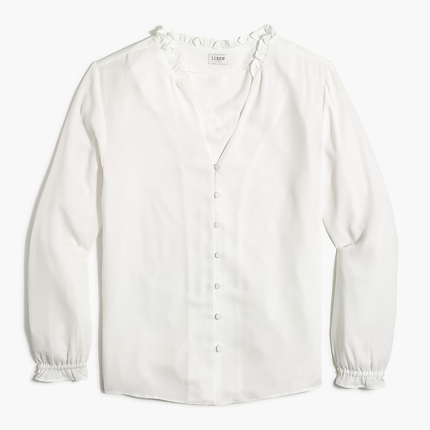 j.crew factory: ruffleneck button-up top for women, right side, view zoomed