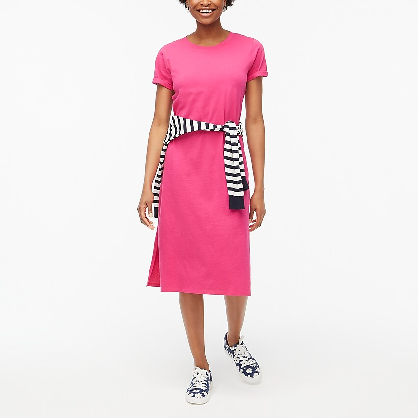 j.crew factory: midi t-shirt dress for women, right side, view zoomed