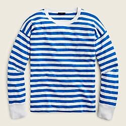 Long-sleeve slub cotton T-shirt in stripe