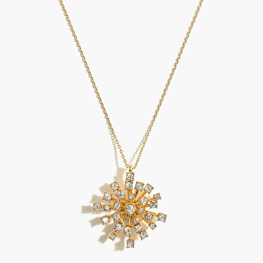 j.crew factory: firework crystal pendant necklace for women, right side, view zoomed