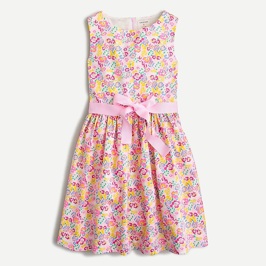 j.crew: girls' ribbon-tie party dress in pink floral for girls, right side, view zoomed