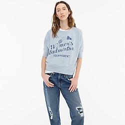 "Short-sleeve vintage cotton terry ""Badminton"" sweatshirt"