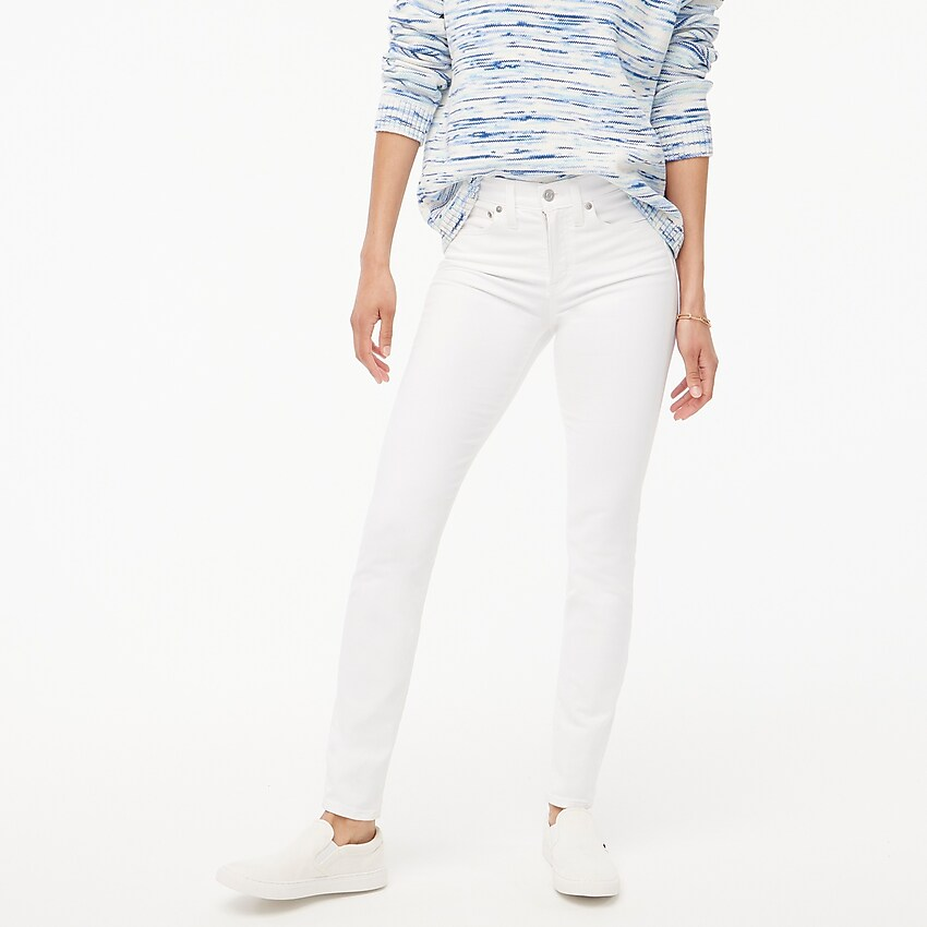 j.crew factory: 9 high-rise skinny jean in white for women, right side, view zoomed