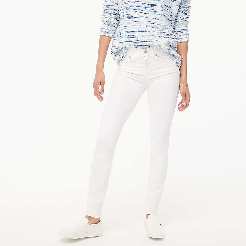 j.crew factory: petite 9 high-rise skinny jean in white for women, right side, view zoomed