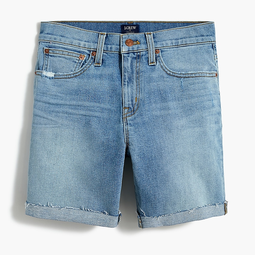 factory: high-rise cutoff boy short for women, right side, view zoomed