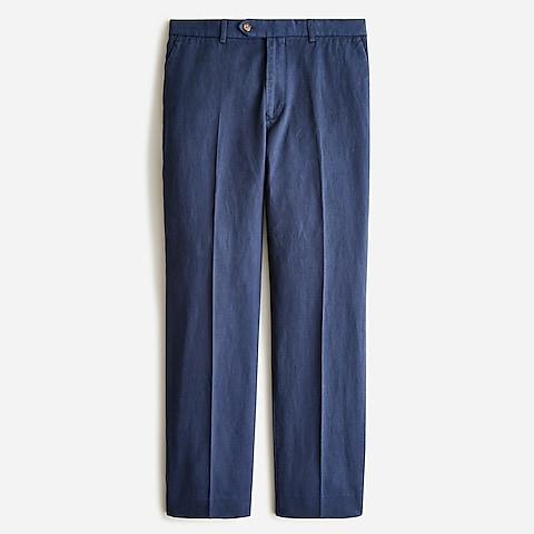 mens Garment-dyed cotton-linen chino suit pant