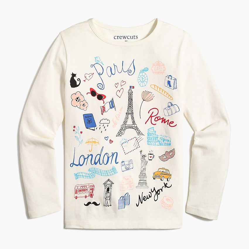j.crew factory: girls' paris travel graphic tee, right side, view zoomed