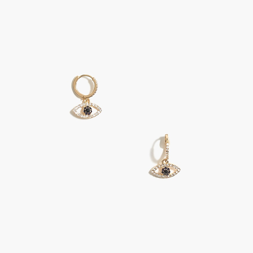 j.crew factory: pavé crystal evil eye huggie earrings for women, right side, view zoomed