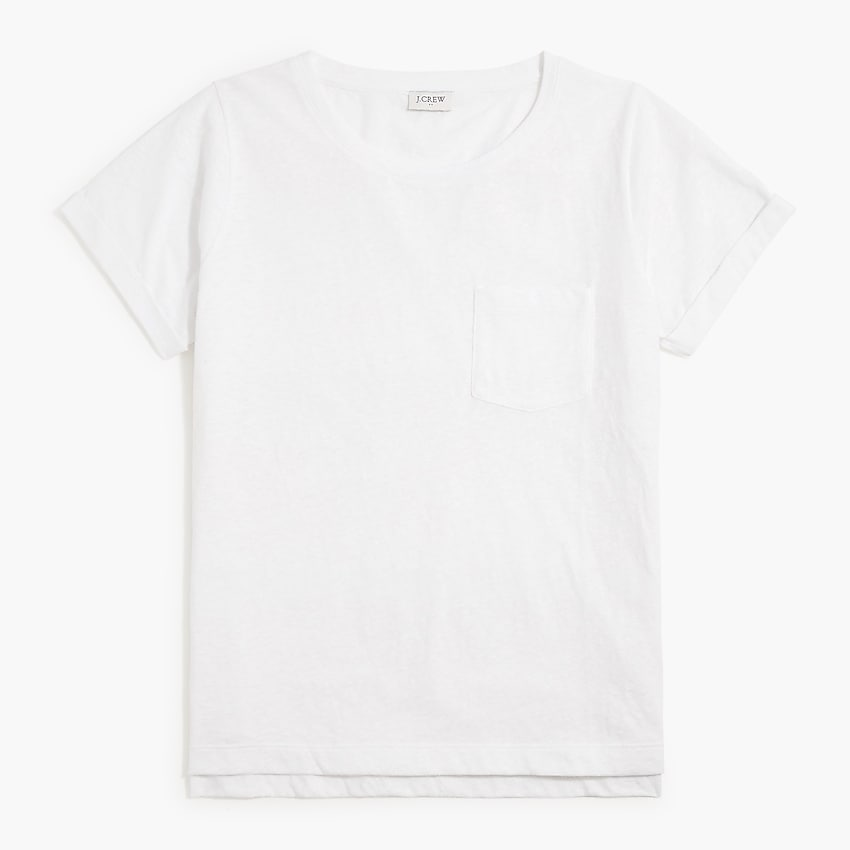 factory: slub cotton-blend rolled short-sleeve tee for women, right side, view zoomed